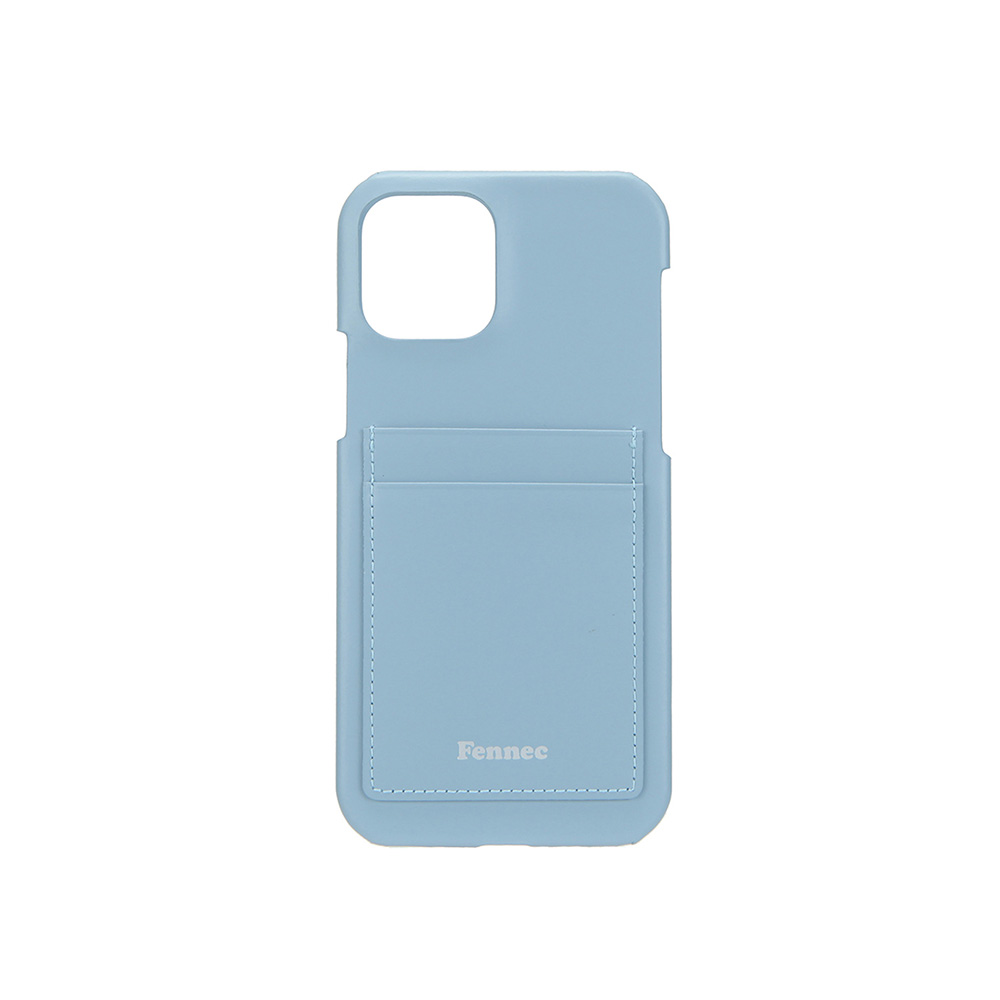 LEATHER IPHONE 12 / 12 PRO CARD CASE - FOG BLUE