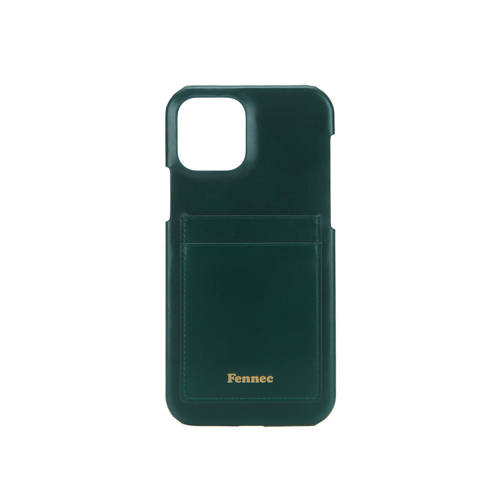LEATHER IPHONE 12 / 12 PRO CARD CASE - MOSS GREEN