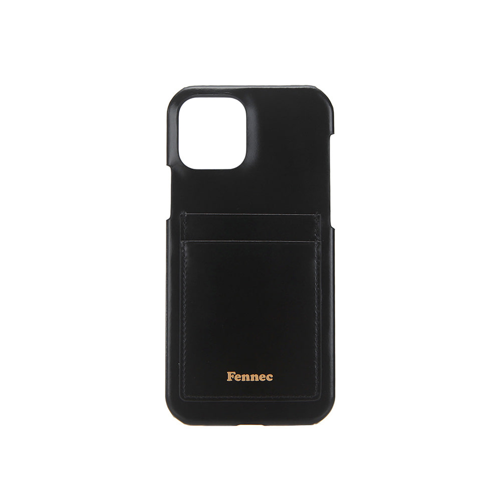 LEATHER IPHONE 12 / 12 PRO CARD CASE - BLACK